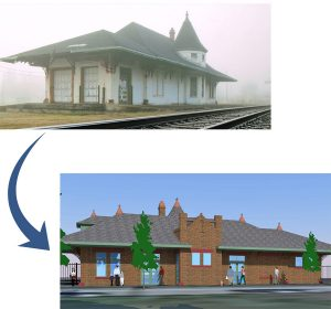 Train Station Museum image of depot before renovations and after renovations